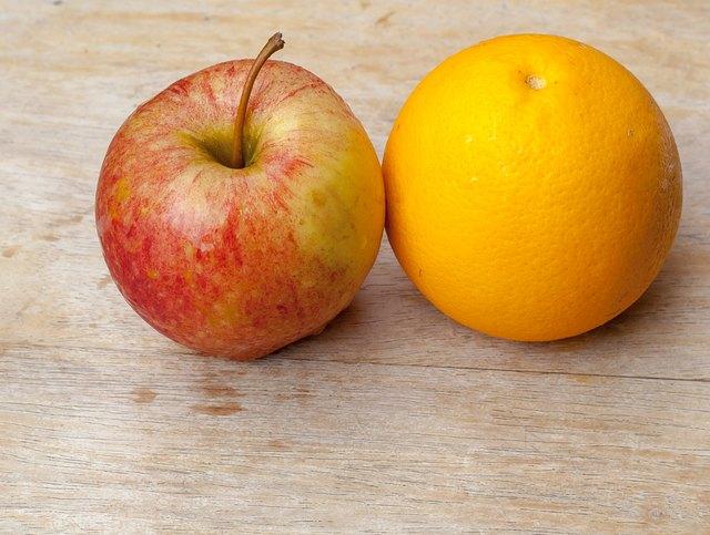 Fresh orange and apple