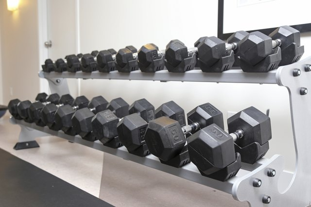 Dumb bells lined up in a fitness studio