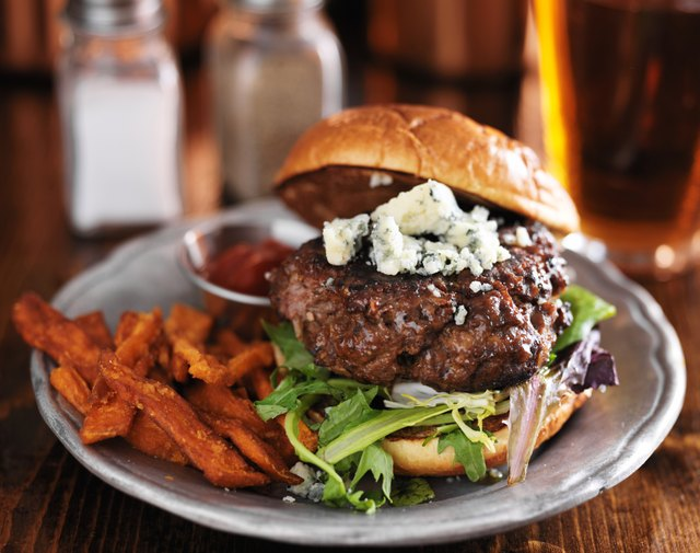 thick burger with blue cheese and sweet potato fries