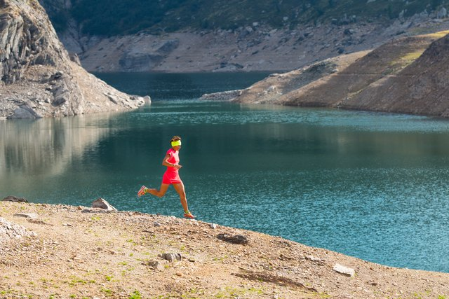 Running in the great outdoors mountain among the alpine lakes