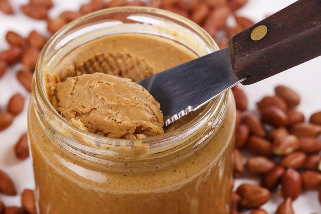 Delicious peanut butter on the table