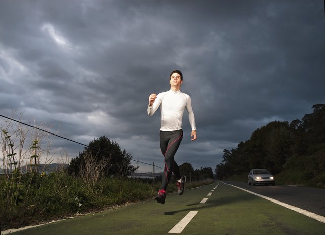 Runner man in the road