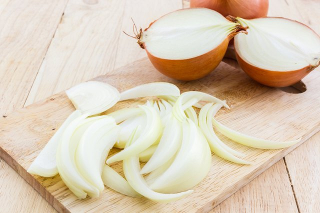 Whole and sliced onions.