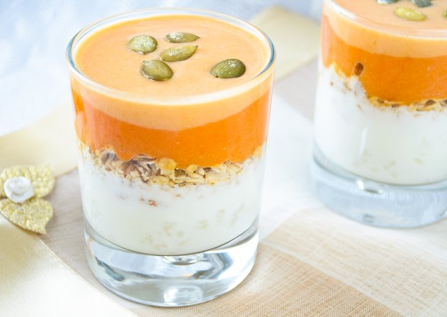 granola with yogurt, pumpkin hard sauce and seed
