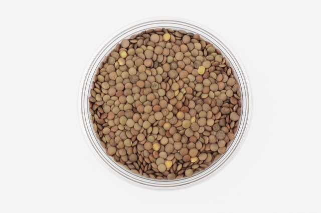 Bowl of uncooked lentils, overhead view