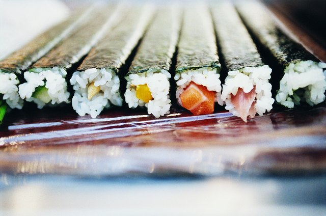 Close-up of Sushi in a Line