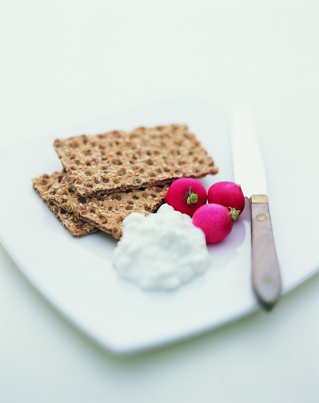 Crispbread, Cottage Cheese and Radishes on a Plate