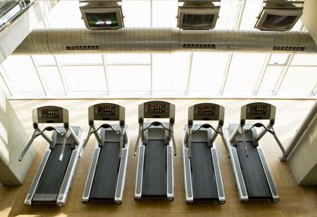 Row of treadmills