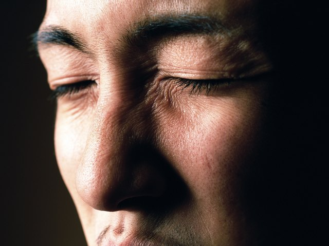 Young adult man with closed eyes, Close Up, Portraint