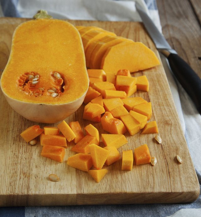 Pumpkin pieces on the cutting board