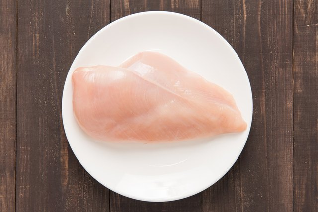Raw chicken breast fillets on white dish.