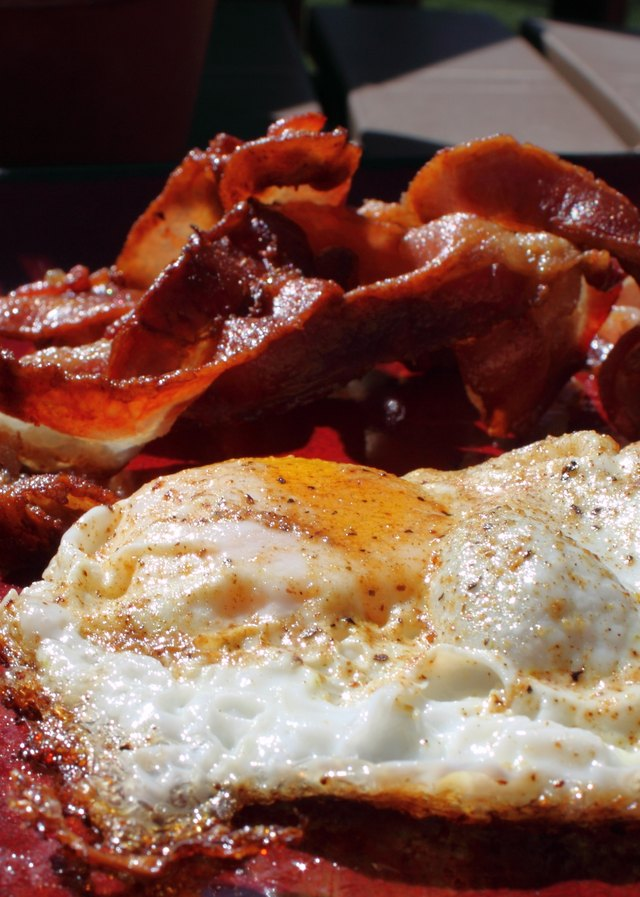 Bacon and eggs close up