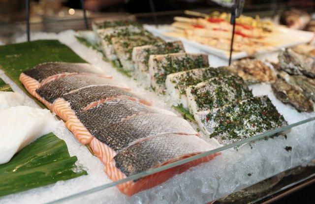 Fish steaks on market display