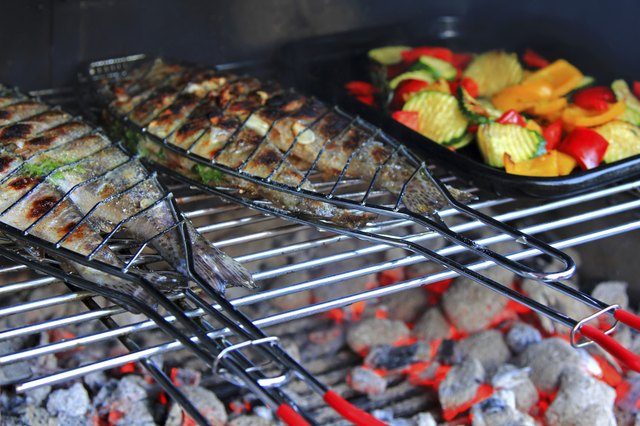 Grilled Fresh Fish (Trout) on the barbecue