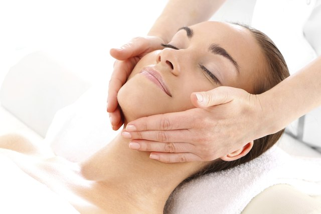 Relax in the spa - woman at face massage
