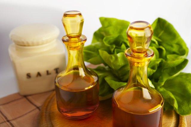 Vinegar and oil in decanter.