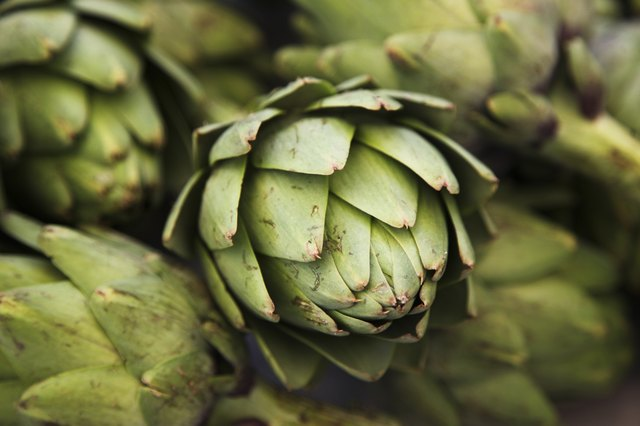 Close up of artichokes from farmers market