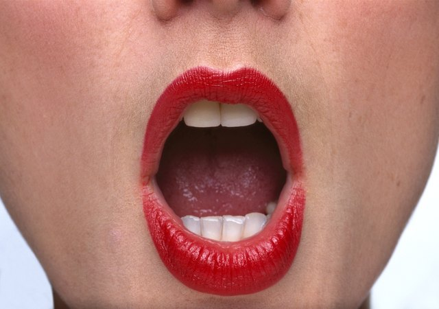 close-up of a woman with her mouth open