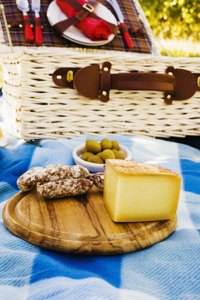 Picnic with cheese and sausage