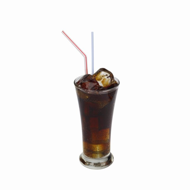 Close up view of a glass of cola