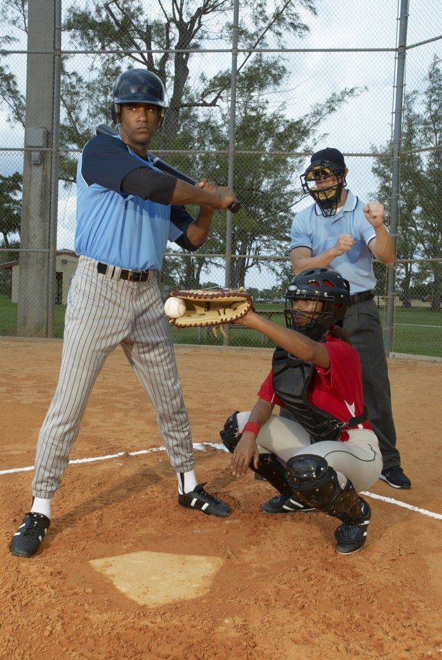 Baseball catcher, batsman and umpire