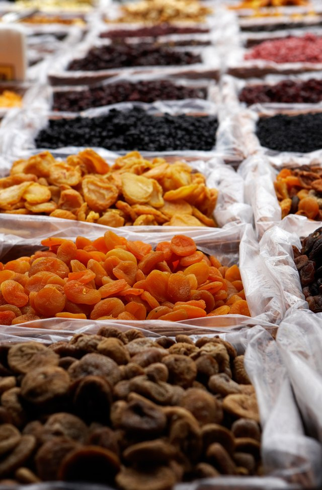 Dried fruit on market stall