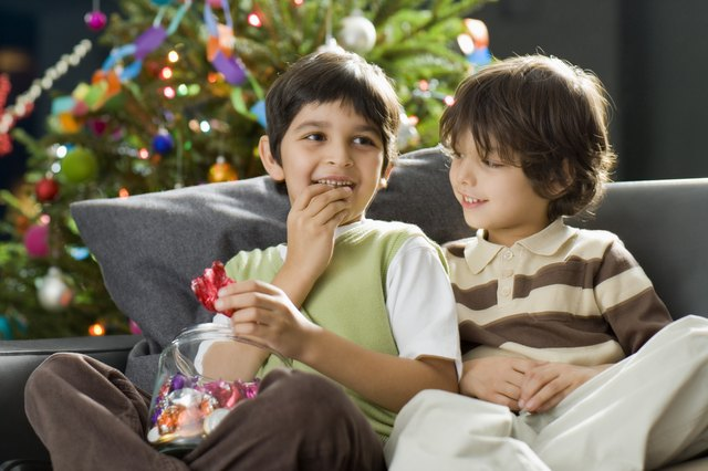 Boys with Christmas candy