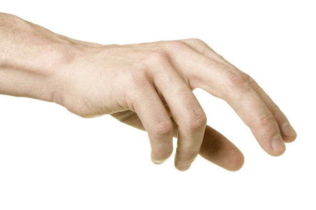 """""""Male hand reaching to pick up something, isolated on white"""""""