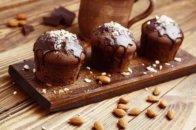Homemade chocolate muffins with nuts