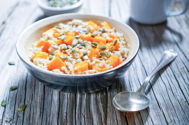 Vegan Oatmeal with Pumpkin, Breakfast Scene.