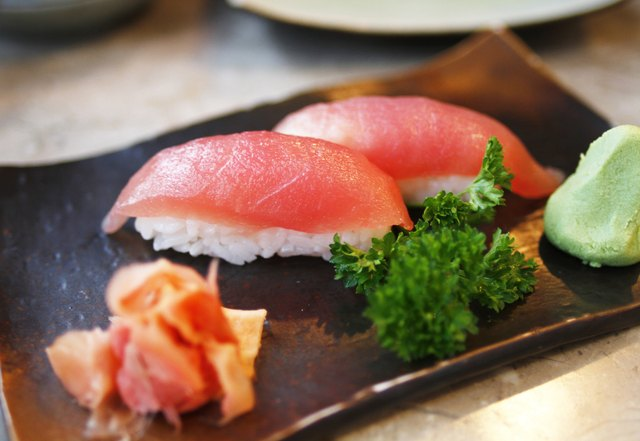 Tuna rolls sushi on a traditional plate