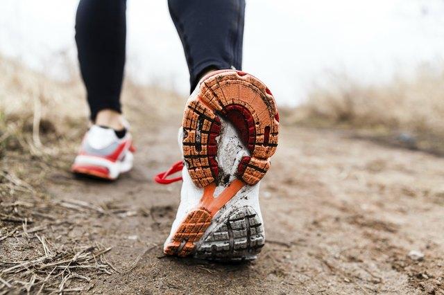 Walking or running legs sport shoes
