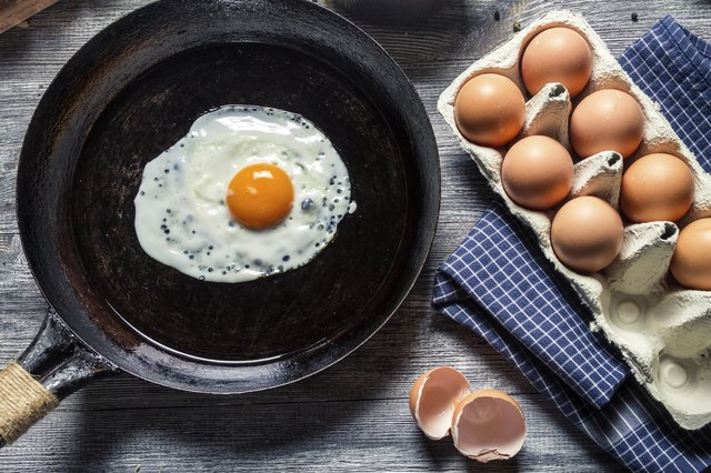 Preparing for frying eggs on a pan