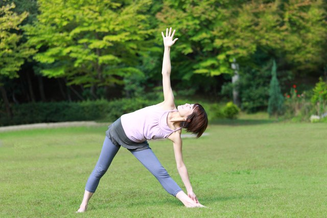 """Japanese Woman Doing YOGA """"extended triangle pose"""""""