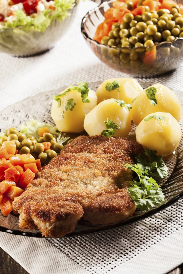 Breaded chop and potatoes