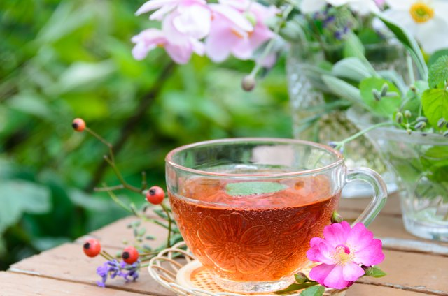tea with herbs and flowers