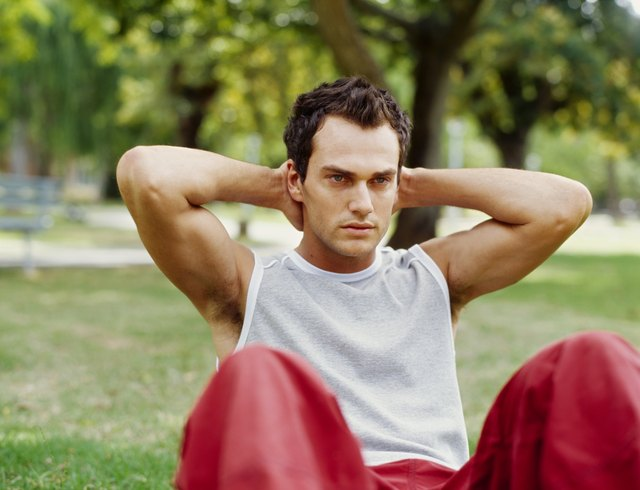 young man exercising in a park