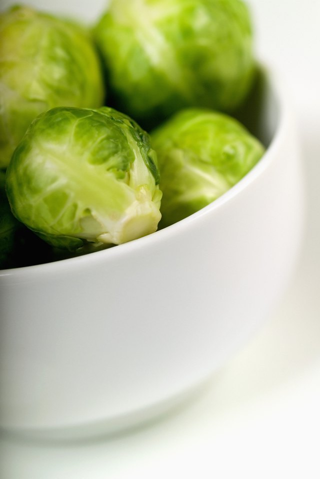 Brussels  sprouts in a bowl, close-up, part of