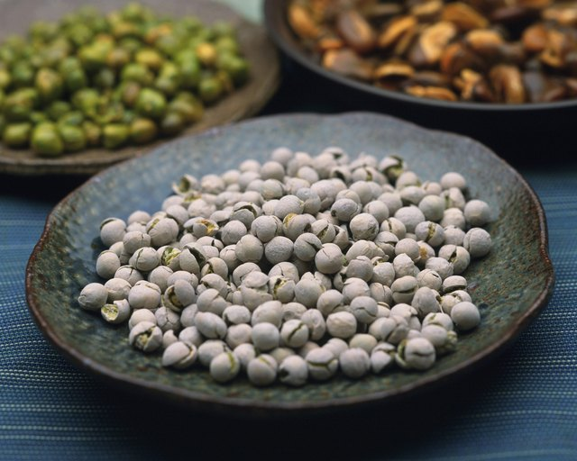 Image of Three Plates, Each With Different Kinds of Peas and Beans, High Angle View, Differential Focus