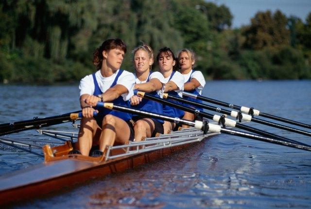 Crew team rowing