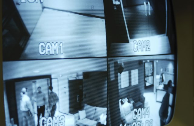 TV screen displaying security camera footage