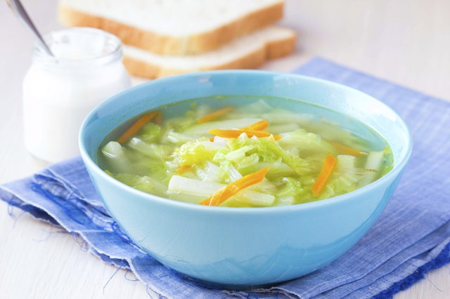 Vegetable soup with cabbage, kohlrabi, carrots, healthy
