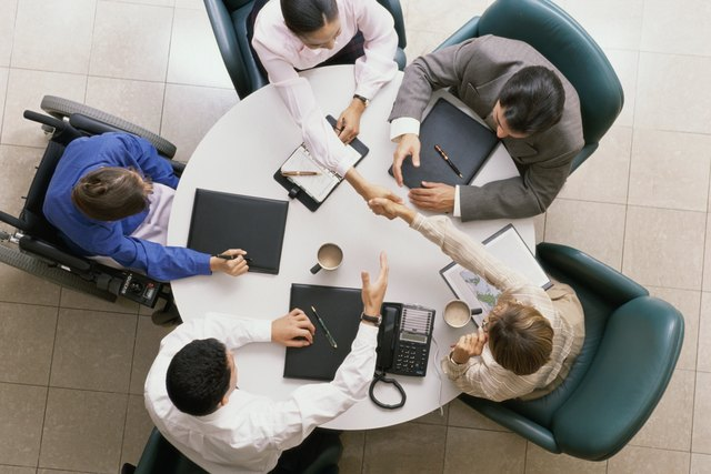 High angle view of business executives in a meeting