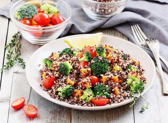 Quinoa salad with broccoli,sweet potatoes and tomatoes