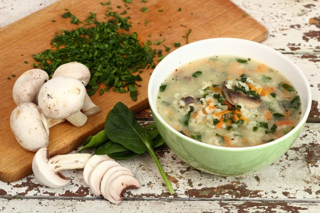 Rice Soup with Mushrooms and Spinach