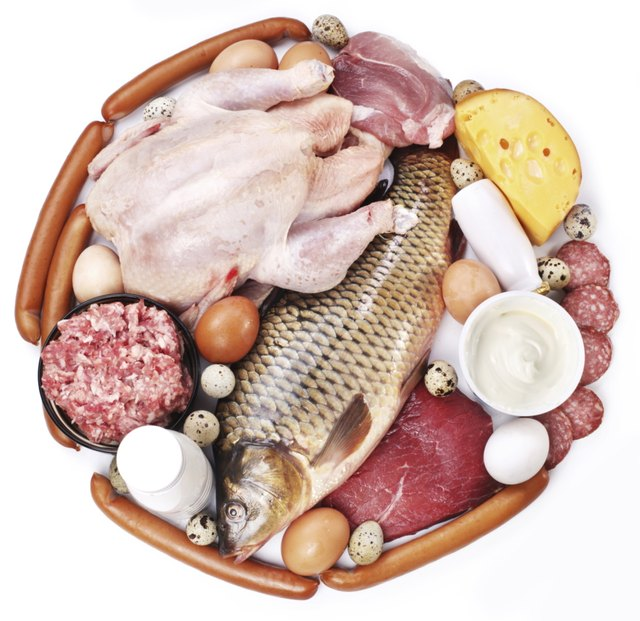Meat and dairy products in the form of a circle