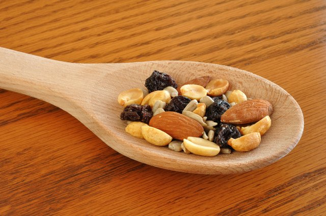 Trail Mix on Wooden Spoon