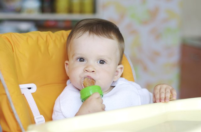 nice baby eats fruits by using nibbler