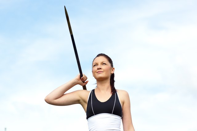 Female athlete throwing the javelin