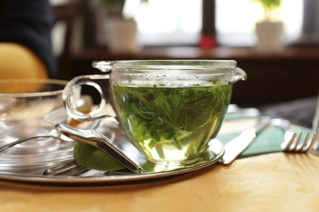 Teapot with mint tea